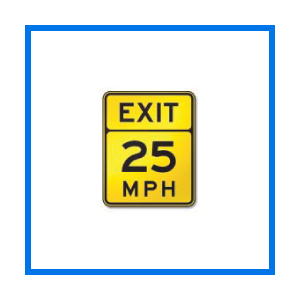 course advisory speed sign
