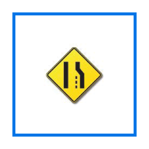 course lane reduction sign