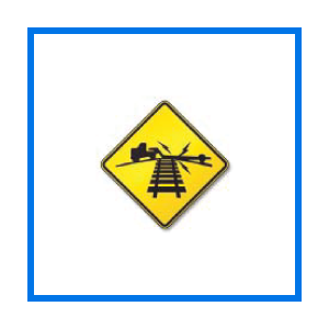 course low ground rr crossing sign