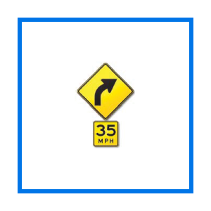 Right curve safe speed sign