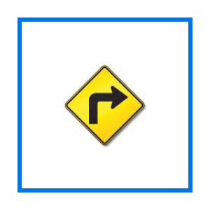 sharp right turn sign