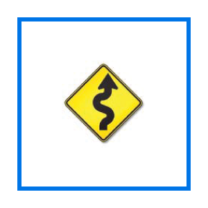 course winding road sign